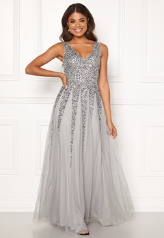 Goddiva Sunray Sequin Maxi Dress Light Grey Bubbleroom.eu
