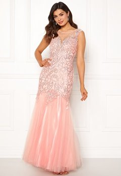 SUSANNA RIVIERI Embellished Shine Dress Blush Bubbleroom.eu
