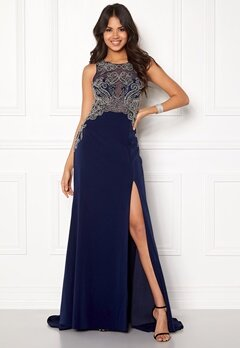 SUSANNA RIVIERI Emballished Sparkling Dress Navy Bubbleroom.eu