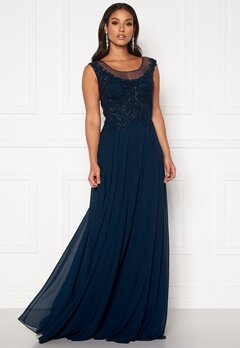 SUSANNA RIVIERI Dream Chiffon Dress Navy Bubbleroom.eu