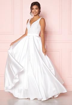 SUSANNA RIVIERI Embellished Satin Dress Ivory Bubbleroom.eu