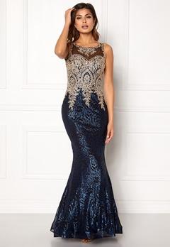 SUSANNA RIVIERI Fishtail Sequin Dress Blue/Black Bubbleroom.eu