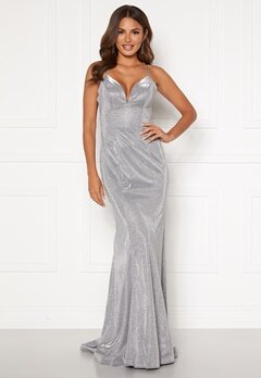 SUSANNA RIVIERI Sparkling Fishtail Dress Silver Bubbleroom.eu