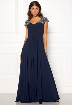 SUSANNA RIVIERI Sweetheart Chiffon Dress Navy Bubbleroom.eu