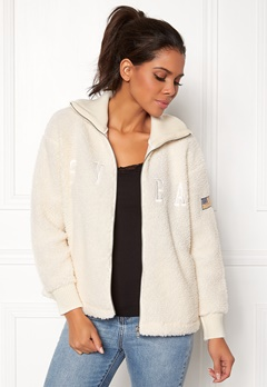 Svea Kathryn Pile Zip Sweater Antique White 023 Bubbleroom.eu
