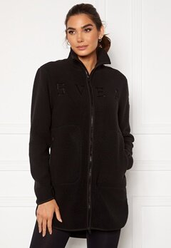 Svea W. Long Pile Zip Sweat 900 Black Bubbleroom.eu