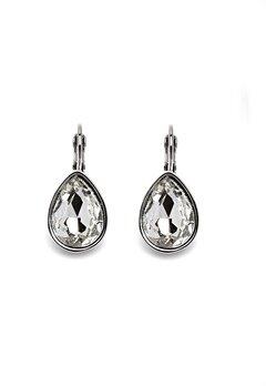BY JOLIMA Tear Drop Earring Crystal Silver Bubbleroom.eu