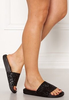 The White Brand Glitter Black Sandals Black Bubbleroom.eu