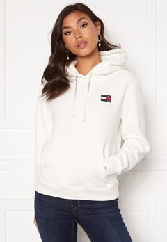 TOMMY JEANS Badge Polar Flecce Hoodie YAP Snow White Bubbleroom.eu
