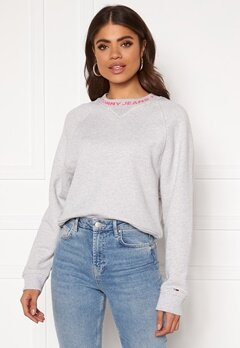 TOMMY JEANS Branded Neck Sweatshirt PPP Pale Grey HTR Bubbleroom.eu