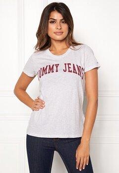 TOMMY JEANS Clean Logo Tee Pale Grey Heather Bubbleroom.eu