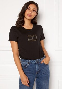 TOMMY JEANS Metallic Outline Flag Tee BDS Black Bubbleroom.eu