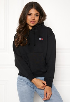 TOMMY JEANS Tommy Badge Hoodie BBU Tommy Black Bubbleroom.eu