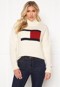 TOMMY JEANS Tommy Flag Sweater YAP Snow White Bubbleroom.eu