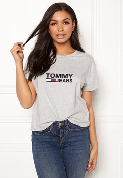 TOMMY JEANS Tommy Flag Tee 000 Light Grey Bubbleroom.eu