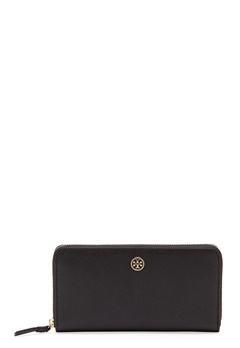 TORY BURCH Robinson Zip Wallet 001 Black Bubbleroom.eu