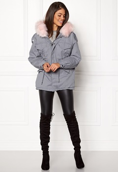 Urban Mist Plush Faux Fur Parka Grey/Pink Bubbleroom.eu