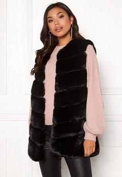 Urban Mist Chevron Faux Fur Gilet Black Bubbleroom.eu