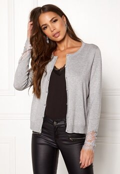 VERO MODA Ado Glory O-Neck Cardigan Light Grey Melange Bubbleroom.eu