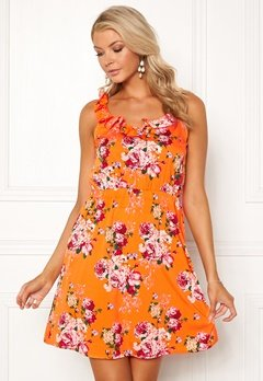 VERO MODA Ane S/L Frill Short Dress Sun Orange Bubbleroom.eu