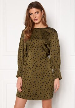 VERO MODA Calina L/S Shoirt Tie Dress Beech AOP Black Cali Bubbleroom.eu