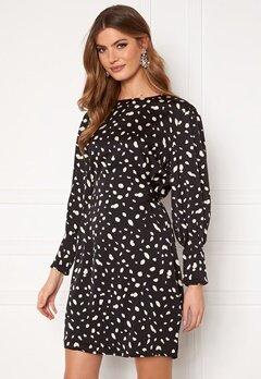 VERO MODA Calina L/S Shoirt Tie Dress Black AOP Calina Bubbleroom.eu