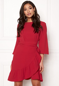 VERO MODA Cita 3/4 Bell Wrap Dress Chinese Red Bubbleroom.eu