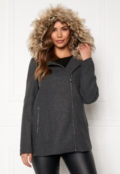 VERO MODA Collar York Wool Jacket Dark Grey Melange Bubbleroom.eu
