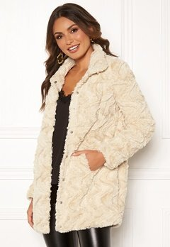 VERO MODA Curl High Faux Fur Jacket Oatmeal Bubbleroom.eu