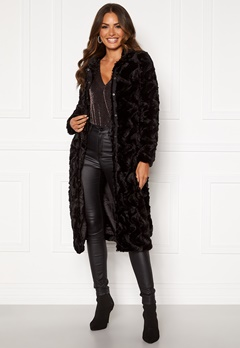 VERO MODA Curl Long Faux Fur Jacket Black Bubbleroom.eu