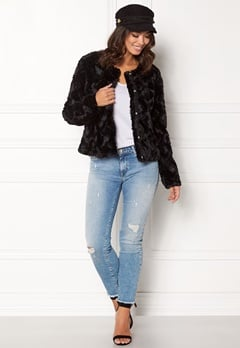 VERO MODA curl short fakefur jacket Black Beauty Bubbleroom.eu