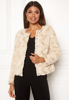 VERO MODA Curl Short Faux Jacket White Bubbleroom.eu