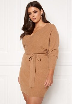Vero Moda Curve Rem V-neck Dress Tan Bubbleroom.eu