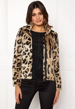 VERO MODA EA Leopard Short Faux Fur Silver Mink Bubbleroom.eu