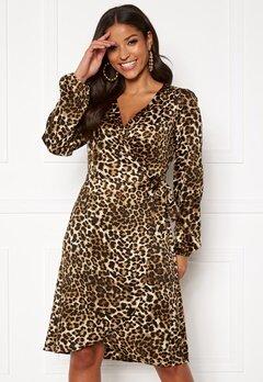 VERO MODA Gamma l/s Wrap Dress Pristine/Leo Bubbleroom.eu