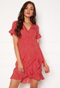 VERO MODA Henna 2/4 Wrap Dress Goji Berry Bubbleroom.eu