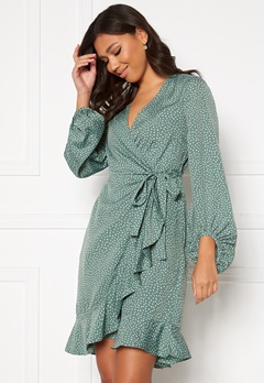 VERO MODA Henna L/S Wrap Dress Laurel Wreath, Dot Bubbleroom.eu