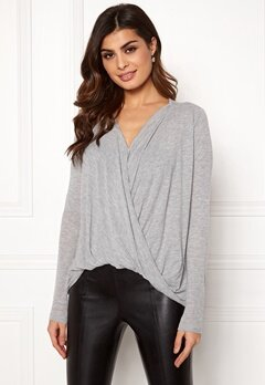 VERO MODA Honie LS Wrap Top Light Grey melange Bubbleroom.eu