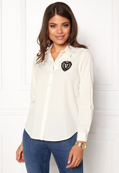 VERO MODA Leah Badge LS Shirt Snow White Bubbleroom.eu
