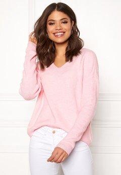 VERO MODA Lefile LS V-neck Blouse Prism Pink Bubbleroom.eu