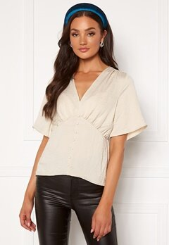VERO MODA Livia 2/4 V-Neck Top Birch Bubbleroom.eu