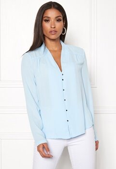 VERO MODA Manja LS V-Neck Shirt Cool Blue Bubbleroom.eu