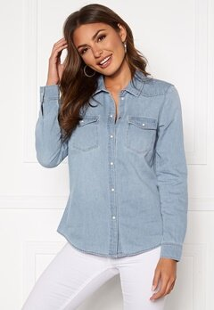 VERO MODA Maria LS Denim Slim Shirt Light Blue Denim Bubbleroom.eu