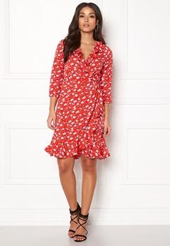 VERO MODA Molly Poly 3/4 Wrap Dress Poppy Red Bubbleroom.eu