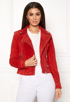 VERO MODA Royce Short Suede Jacket Fiery Red Bubbleroom.eu
