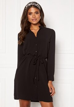 VERO MODA Saga LS Collar Shirt Dress Black Bubbleroom.eu