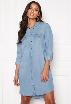VERO MODA Silla LS Short Dress Light Blue Denim Bubbleroom.eu