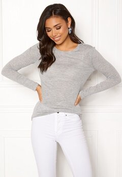 VERO MODA Vita O-Neck LS Top GA Light Grey Melange Bubbleroom.eu