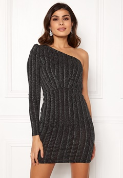 VERO MODA Wiona One Shoulder Short Dress Black Silver Lurex Bubbleroom.eu