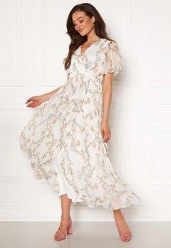 VERO MODA Wonda S/S Wrap Maxi Dress Snow White AOP Bubbleroom.eu